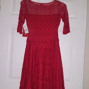 Signature By Sangria Red Lace Dress Sz M